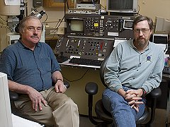 Drs. Tony Irving and Scott Kuehner at UW microprobe laboratory.